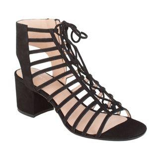 Pour La Victoire Amabelle black lace up block heel